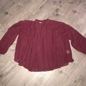 Kenzie Jeans, Maroon, crop Pleated Swing Shirt